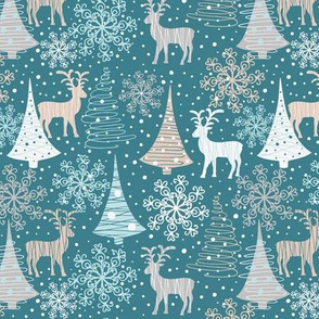 Winter forest and reindeers