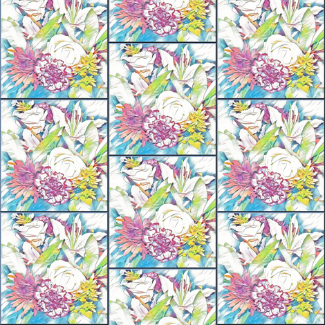 Floral tiles fabric by flutterbi on Spoonflower - custom fabric