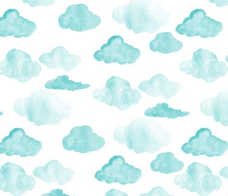 Aqua Clouds fabric by mrshervi on Spoonflower - custom fabric