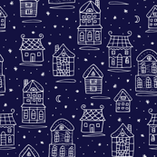 Snowy houses pattern