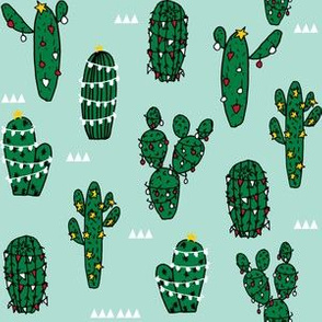christmas cactus // cute xmas holiday cacti fabric cute cactus fabrics