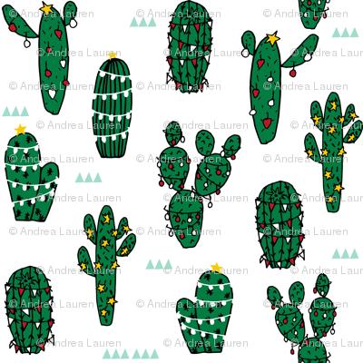 christmas cactus // christmas cactus xmas holiday fabric cute christmas  lights fabric - Christmas Cactus // Christmas Cactus Xmas Holiday Fabric Cute