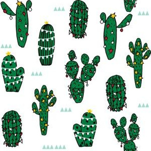 christmas cactus // christmas cactus xmas holiday fabric cute christmas lights fabric