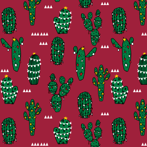 christmas cactus // cute christmas xmas fabrics best christmas red and green fabrics fabric by andrea_lauren on Spoonflower - custom fabric