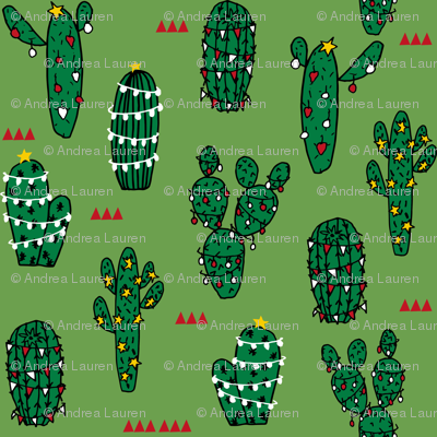 christmas cactus // cute christmas xmas holiday cactus red and christmas fabrics