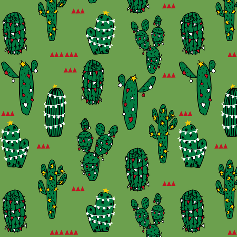 christmas cactus // cute christmas xmas holiday cactus red and christmas fabrics fabric by andrea_lauren on Spoonflower - custom fabric