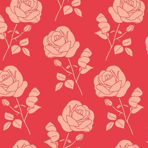 Pink on Red Roses