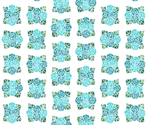 Craftsmen Round Roses Tiles White Aqua fabric by wickedrefined on Spoonflower - custom fabric