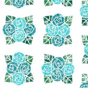 Craftsmen Round Roses Tiles White Aqua