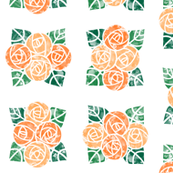Craftsmen Round Roses Tiles White Orange