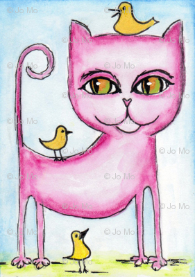Pink Cat with Bird Flock