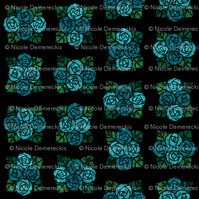 Craftsmen Round Roses Tiles Black Aqua