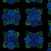 Craftsmen Round Roses Tiles Black Blue