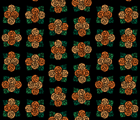 Craftsmen Round Roses Tiles Black Orange fabric by wickedrefined on Spoonflower - custom fabric
