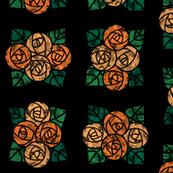 Craftsmen Round Roses Tiles Black Orange