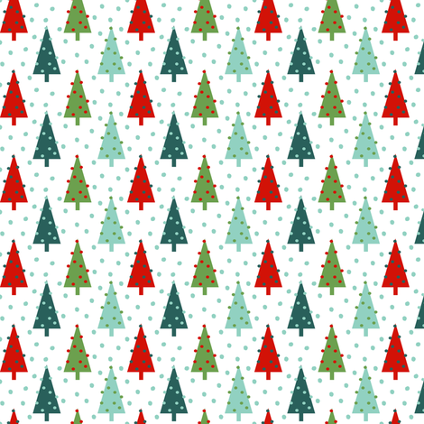 christmas trees red mint and green cute nordic scandi xmas christmas holiday trees fabric by charlottewinter on Spoonflower - custom fabric