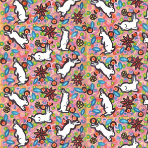 Colorful Rabbits and Blooms