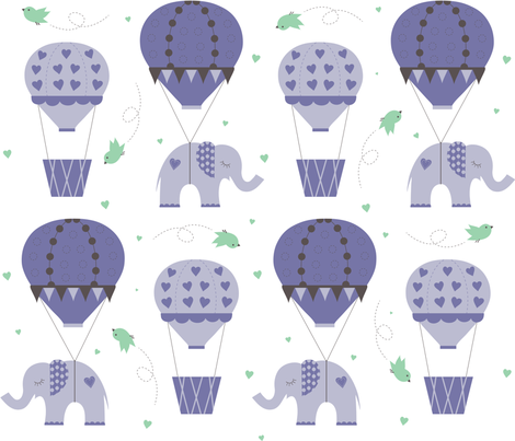 Hot Air Balloon Purple Mint fabric by jenniferfranklin on Spoonflower - custom fabric