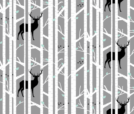 walk in the woods // indigo & grey-ch fabric by buckwoodsdesignco on Spoonflower - custom fabric