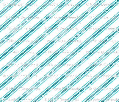 Watercolor Stripe White Aqua
