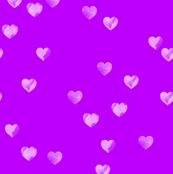 Watercolour Hearts in Purple