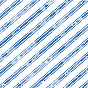 Watercolor Stripe White Blue