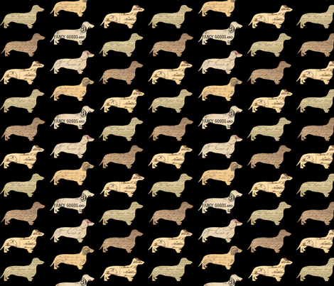 Dachshund Paperback Dogs Black fabric by janinez on Spoonflower - custom fabric