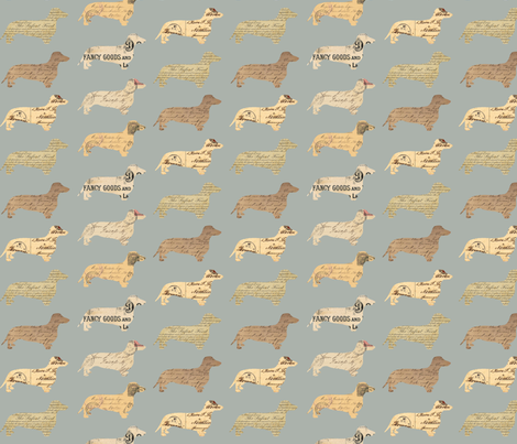 Dachshund Paperback Dogs Grey fabric by janinez on Spoonflower - custom fabric