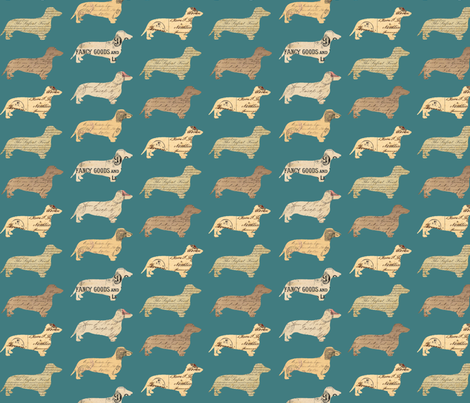 Dachshund Paperback Dogs Green fabric by janinez on Spoonflower - custom fabric