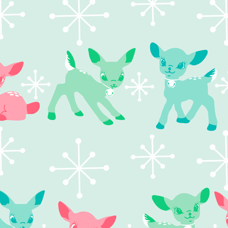 Oh Deer!- Pink Large Scale fabric by halloweenhomemaker on Spoonflower - custom fabric