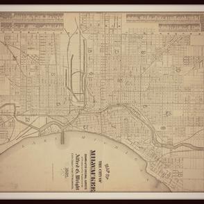 Milwaukee map, vintage, FQ