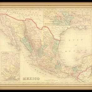 Mexico map, vintage, small, FQ