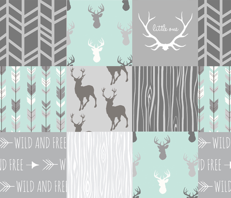 Whole Cloth Quilt - Whistler Village Mint and Grey Deer Patchwork Squares - Woodland Quilt fabric by sugarpinedesign on Spoonflower - custom fabric