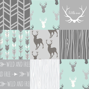 Whole Cloth Quilt - Whistler Village Mint and Grey Deer Patchwork Squares - Woodland Quilt