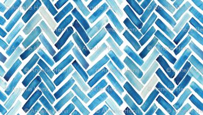 Blue herringbone watercolor small scale