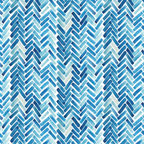 Blue herringbone watercolor small scale fabric - mrshervi ...