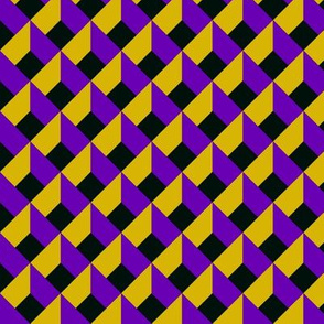 OPTICAL ILLUSION LOZENGE MUSTARD PURPLE