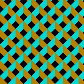 OPTICAL ILLUSION LOZENGE TOFFEE CARAMEL and AQUA TURQUOISE