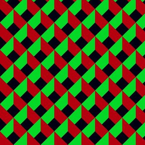 OPTICAL ILLUSION LOZENGE CUBES GREEN RED BLACK