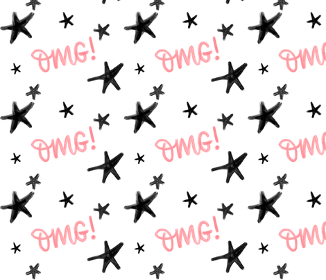 OMG stars pink - big pattern fabric by howjoyful on Spoonflower - custom fabric