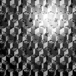 OPTICAL ILLUSION CUBIC CUBES BLACK AND WHITE GEOMETRIC