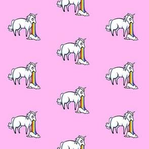 Large Unicorn and Rainbows Pale Pink