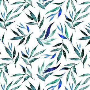 blue greenery watercolor pattern