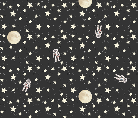 Space - Stars, Moon and Astronauts on black fabric by hazelfishercreations on Spoonflower - custom fabric