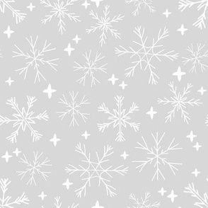 winter snowflakes // light grey snowflake fabric cute winter snow design best grey and white snowflakes fabric by andrea lauren