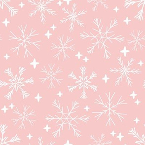 winter snowflakes // pastel pink cute snowflakes best holiday designs cute holiday snowflakes pattern best holiday fabrics andrea lauren fabric