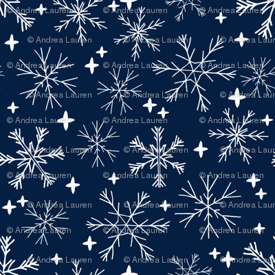winter snowflakes // navy blue dark blue snowflake pattern snowflake fabric cute snowflakes best xmas holiday christmas design andrea lauren fabric