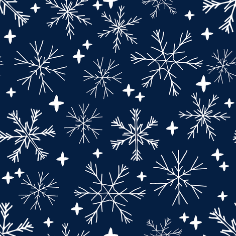 winter snowflakes // navy blue dark blue snowflake pattern snowflake fabric cute snowflakes best xmas holiday christmas design andrea lauren fabric fabric by andrea_lauren on Spoonflower - custom fabric