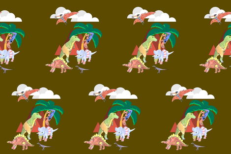 Dino_Avengers_Brown fabric by cariannehamilton on Spoonflower - custom fabric