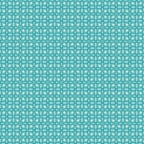 Four-Petaled Abstract Flower, Teal, Small
